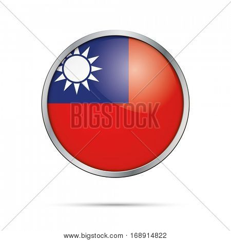 Vector Taiwanese flag button. Taiwan, Republic of China flag glass button style with metal frame.