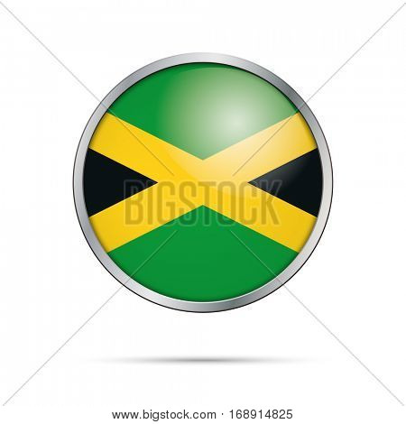 Vector Jamaican flag button. Jamaica flag glass button style with metal frame.