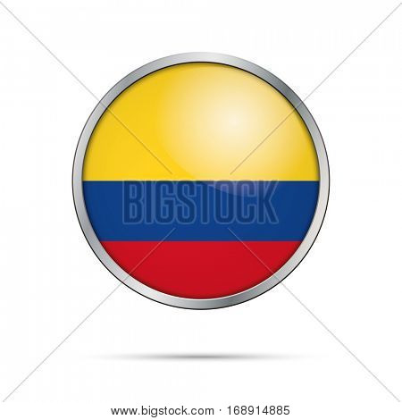 Vector Colombian flag button. Colombia flag glass button style with metal frame.
