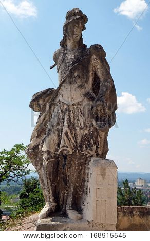 PTUJ, SLOVENIA - JULY 02: Saint Florian statue, Castle in Ptuj, town on the Drava River banks, Lower Styria Region, Slovenia on July 02, 2016.