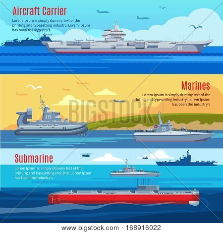 Military fleet horizontal banners with marine naval combat war and battle ships vector illustration