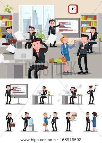 Office atmosphere composition with workers and staff people in different situations in flat style vector illustration