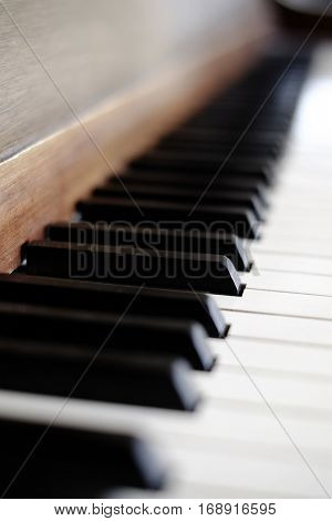 Piano keys on old vintage instrument ivory & ebony