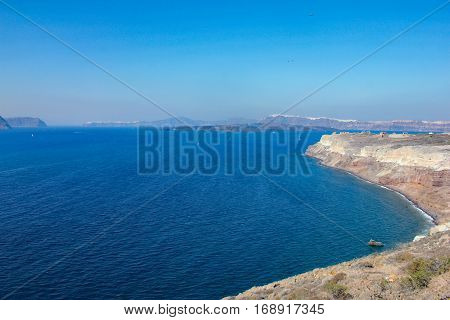Gulf island of Santorini overlooking the caldera.