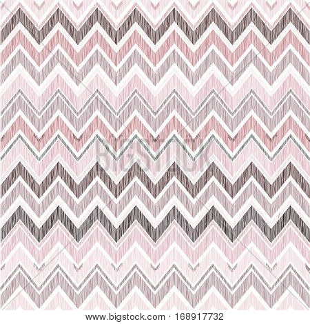 Abstract Geometric Seamless Pattern. Fabric Doodle Zig Zag Line Ornament. Zigzag Pencil Drawing Back