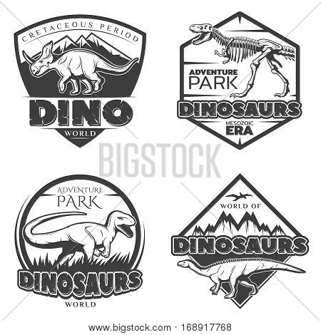 Vintage dinosaur logos with ancient creatures of jurassic and cretaceous periods in monochrome style isolated vector illustration