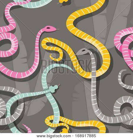 Seamless pattern with colorful intertwined striped rain forest snakes vector illustration