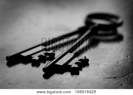 Wooden surface with keys to unlock knowledge or business success