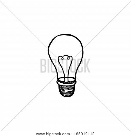 Lamp bulb isolated over white background. Light icon. Doodle line hand drawn sketch illustration