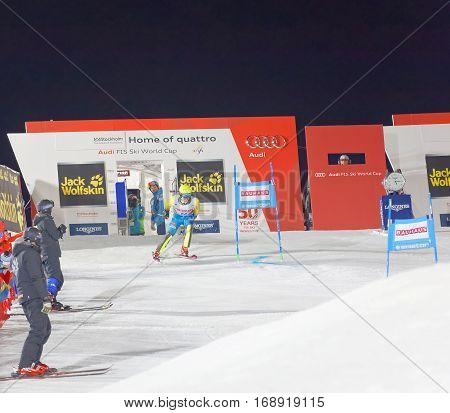 STOCKHOLM SWEDEN - JAN 31 2017: Mattias Hargin (SWE) starting in the parallel slalom alpine event Audi FIS Ski World Cup. January 31 2017 Stockholm Sweden