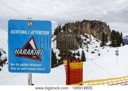 HINTERTUX, AUSTRIA - MARCH 29, 2015: Sign of a black piste at the Horberg mountain (Harakiri route 34) in the ski region of the Hintertuxer Glacier (Tuxer Ferner) in Tyrol Austria
