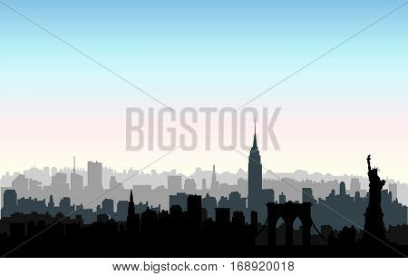 New York USA skyline. NYC city silhouette with Liberty monument. American landmarks. Urban architectural landscape. Cityscape with famous buildings