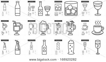 Drinks vector line icon set isolated on white background. Drinks line icon set for infographic, website or app. Scalable icon designed on a grid system.