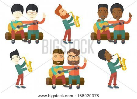 Pleased musician playing on saxophone. Musician with his eyes closed playing on saxophone. Young happy musician with saxophone. Set of vector flat design illustrations isolated on white background.