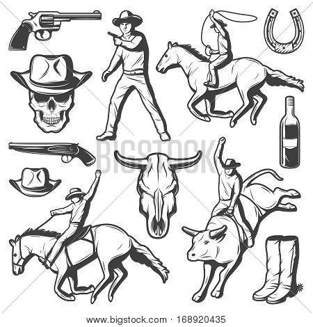 Vintage rodeo elements set with weapons western objects cowboys riding horse and bull isolated vector illustration