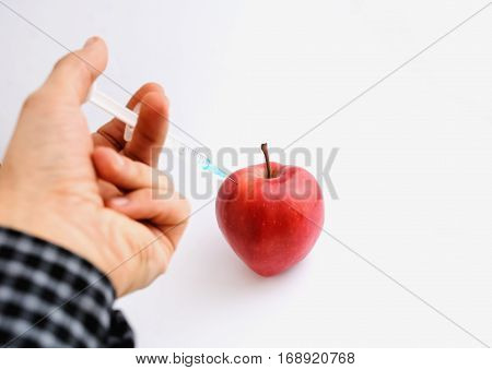 Red Apple With Syringe