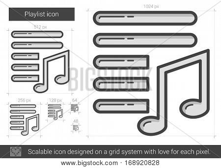 Playlist vector line icon isolated on white background. Playlist line icon for infographic, website or app. Scalable icon designed on a grid system.