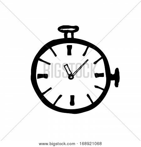 Stopwatch doodle line illustration black icon. Watch dial isolated on white background.