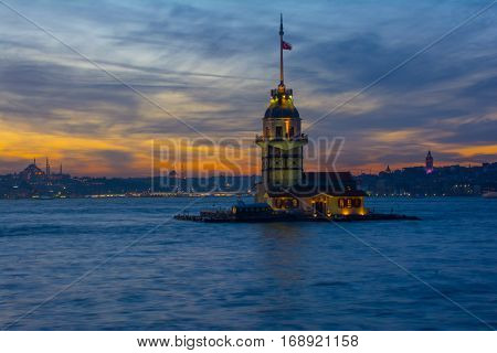 historical maidens tower building on uskudar istanbul