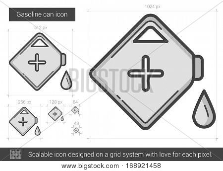 Gasoline can vector line icon isolated on white background. Gasoline can line icon for infographic, website or app. Scalable icon designed on a grid system.
