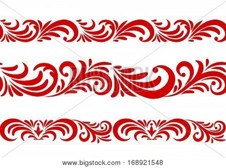 Floral pattern design element set. Ornamental flourish border in russian style over white background.