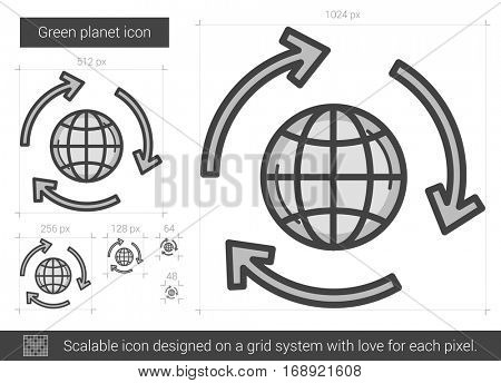 Green planet vector line icon isolated on white background. Green planet line icon for infographic, website or app. Scalable icon designed on a grid system.