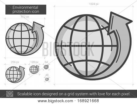 Environmental protection vector line icon isolated on white background. Environmental protection line icon for infographic, website or app. Scalable icon designed on a grid system.