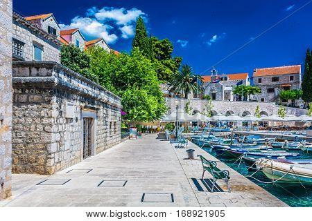 Scenic view at Mediterranean places - coastal town Bol in Croatia, Island Brac summertime.