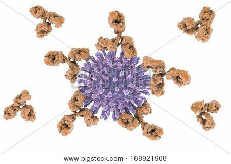 HIV and antibodies, 3D illustration. Concept for treatment of HIV infection and AIDS