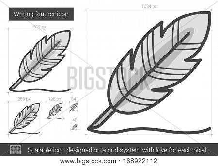 Writing feather vector line icon isolated on white background. Writing feather line icon for infographic, website or app. Scalable icon designed on a grid system.