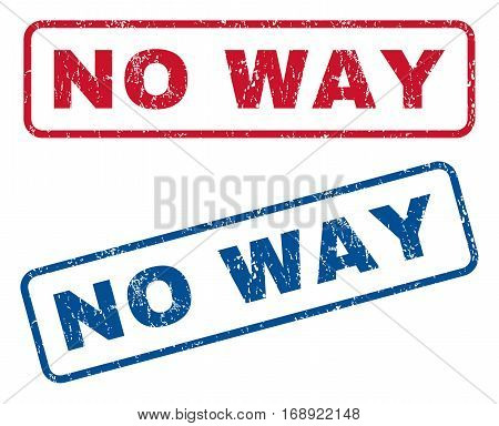 No Way text rubber seal stamp watermarks. Vector style is blue and red ink tag inside rounded rectangular shape. Grunge design and scratched texture. Blue and red emblems.