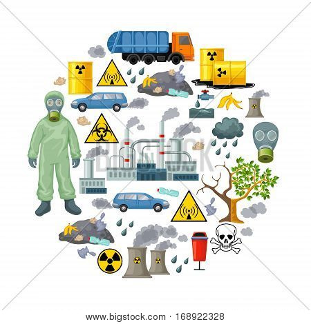 Ecological problems elements composition with toxic nuclear fuel and trash kinds of environmental pollution isolated vector illustration