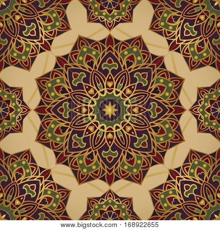 Colorful oriental ornament of mandalas. Template for the shawl carpet cover textile and other surfaces.