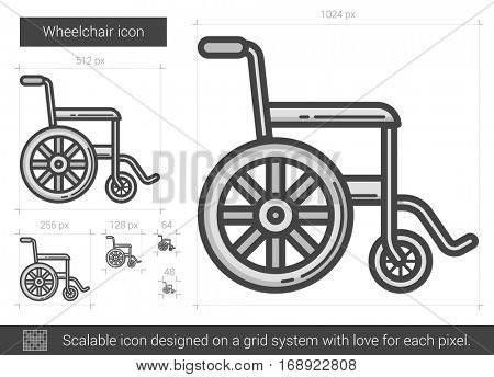 Wheelchair vector line icon isolated on white background. Wheelchair line icon for infographic, website or app. Scalable icon designed on a grid system.