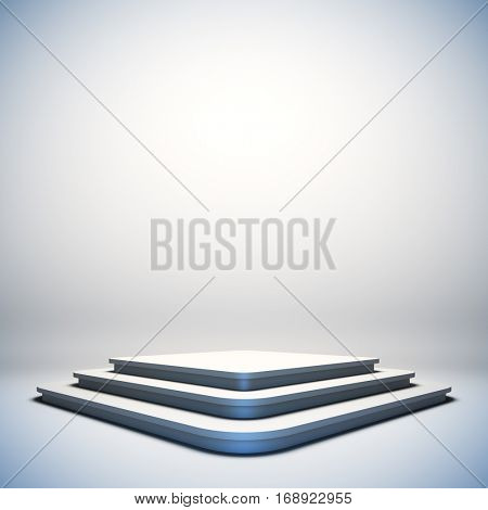 Mock up of blank template layout white empty stage. 3d render illustration. Copy space to place your text, object, or logo.