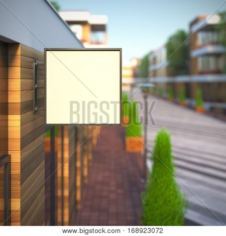 Mockup of blank template layout square signboard. 3d render illustration. Billboard copy space empty to place your text, banner, placard, advertising or logo.