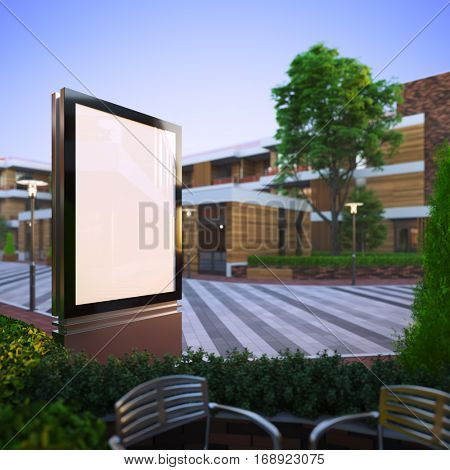 A 3d render illustration mockup of advertising light stand on a street. Billboard copy space empty to place advertisement, poster, image, text or logo.