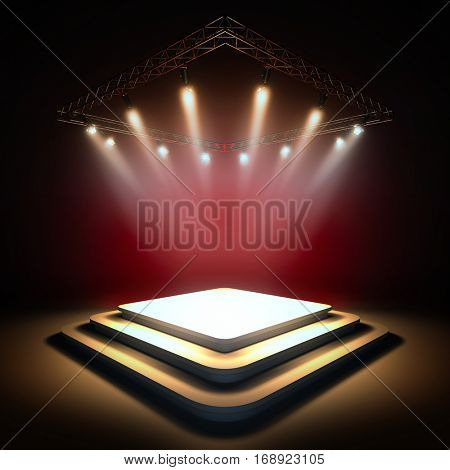 Mock up of blank template layout stage illuminated by spotlights. 3d render illustration. Copy space to place your text, object, or logo.
