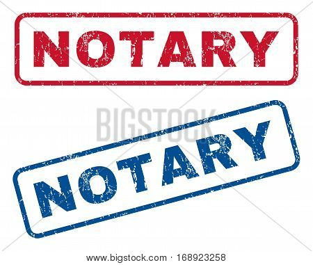 Notary text rubber seal stamp watermarks. Vector style is blue and red ink caption inside rounded rectangular shape. Grunge design and dirty texture. Blue and red signs.