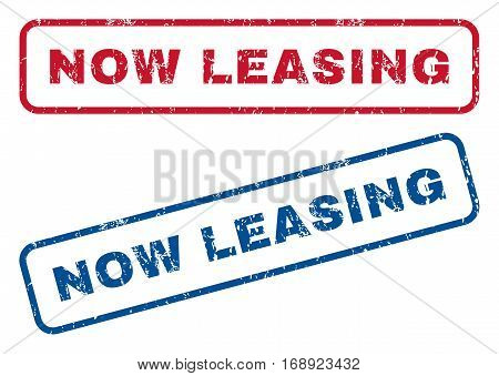 Now Leasing text rubber seal stamp watermarks. Vector style is blue and red ink caption inside rounded rectangular shape. Grunge design and unclean texture. Blue and red signs.