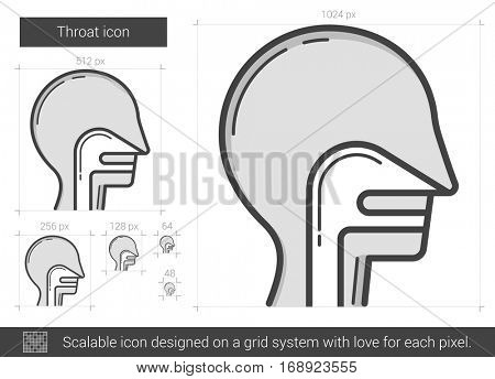 Throat vector line icon isolated on white background. Throat line icon for infographic, website or app. Scalable icon designed on a grid system.