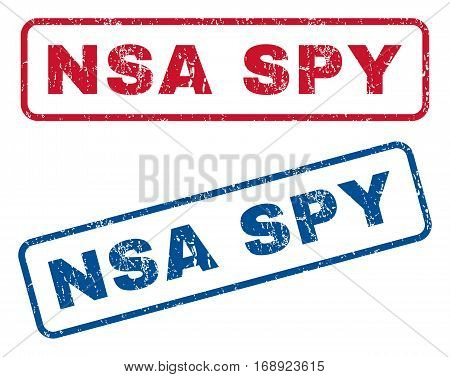 NSA Spy text rubber seal stamp watermarks. Vector style is blue and red ink caption inside rounded rectangular shape. Grunge design and dirty texture. Blue and red stickers.