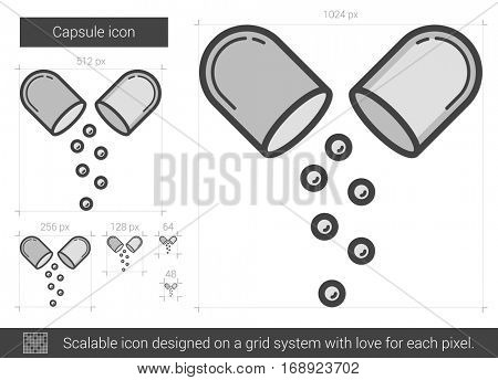 Capsule vector line icon isolated on white background. Capsule line icon for infographic, website or app. Scalable icon designed on a grid system.