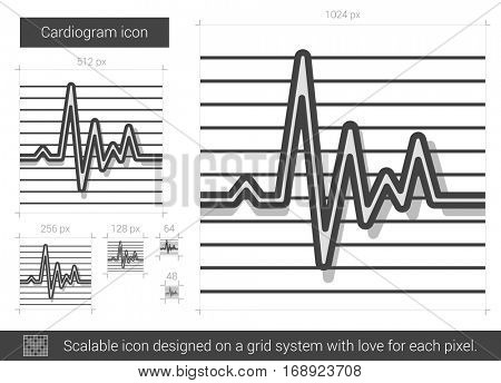 Cardiogram vector line icon isolated on white background. Cardiogram line icon for infographic, website or app. Scalable icon designed on a grid system.
