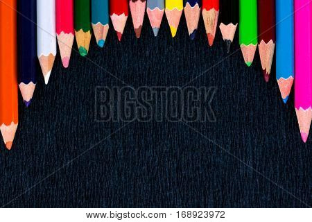 Black Background For Presentation With Round Colourful Upper Pencils Border