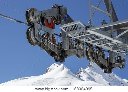 Mast of the cableway to the Hintertuxer Glacier (Tuxer Ferner) in Tyrol Austria