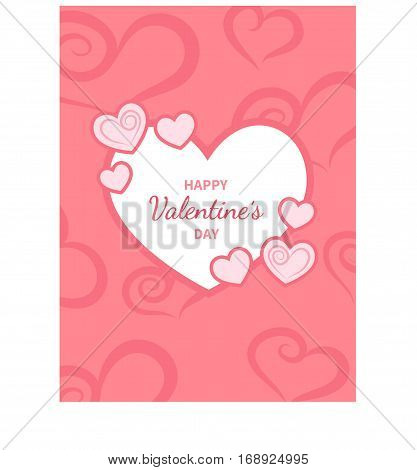 Happy Valentine's Day greeting card. White heart with an inscription in the middle. Festive romantic love background. Vector illustration.
