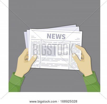 Man's hands holding a newspaper with latest news. Abstract text and photos on sheets. Vector illustration in flat design on a gray background.