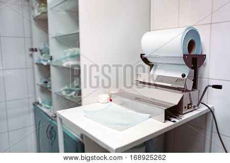 Modern vacuum packing machine in hospital