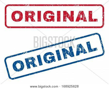 Original text rubber seal stamp watermarks. Vector style is blue and red ink tag inside rounded rectangular banner. Grunge design and scratched texture. Blue and red emblems.